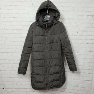 Andrew Marc Hooded Long Quilted Puffer Coat Gray